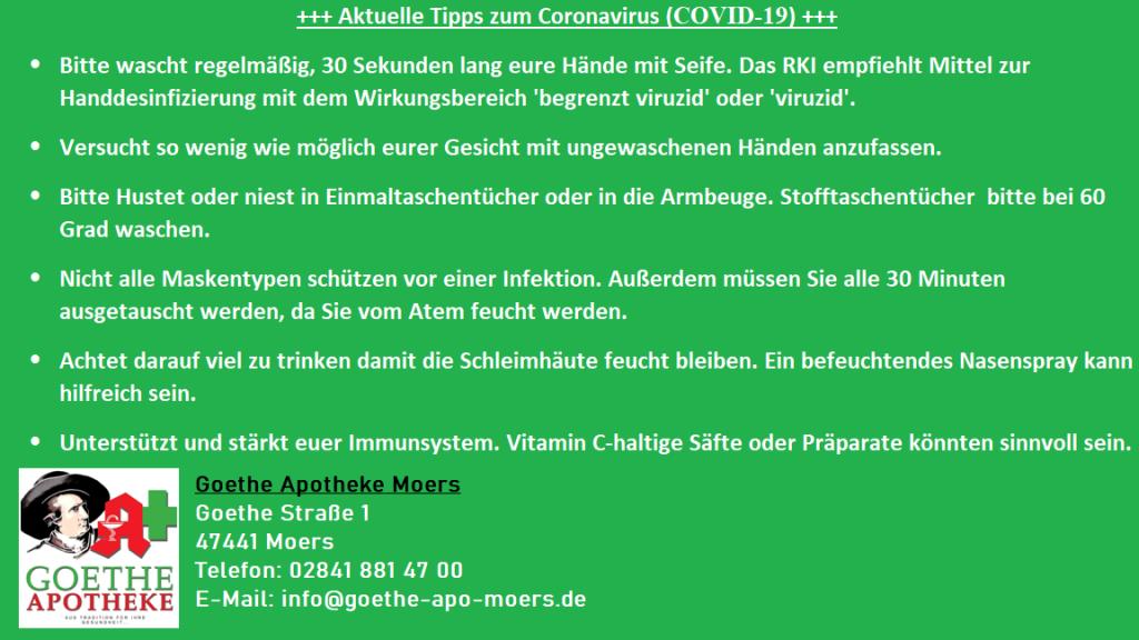 Hygienemaßnahmen für Coronavirus (COVID-19)